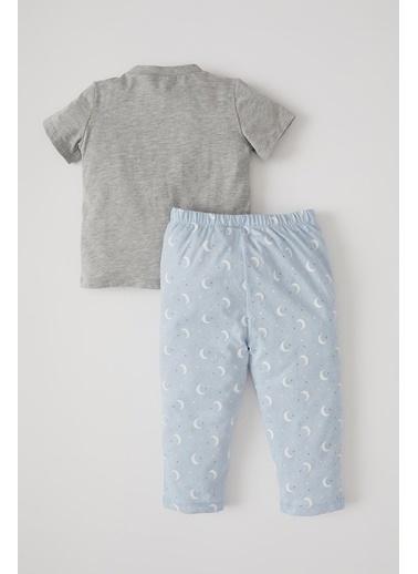DeFacto Erkek Bebek Mickey Mouse Lisanslı Kısa Kol Pijama Takımı Gri